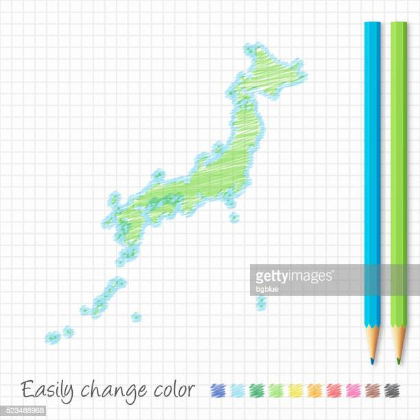 japan map sketch with color pencils, on grid paper - sea of japan or east sea stock illustrations, clip art, cartoons, & icons