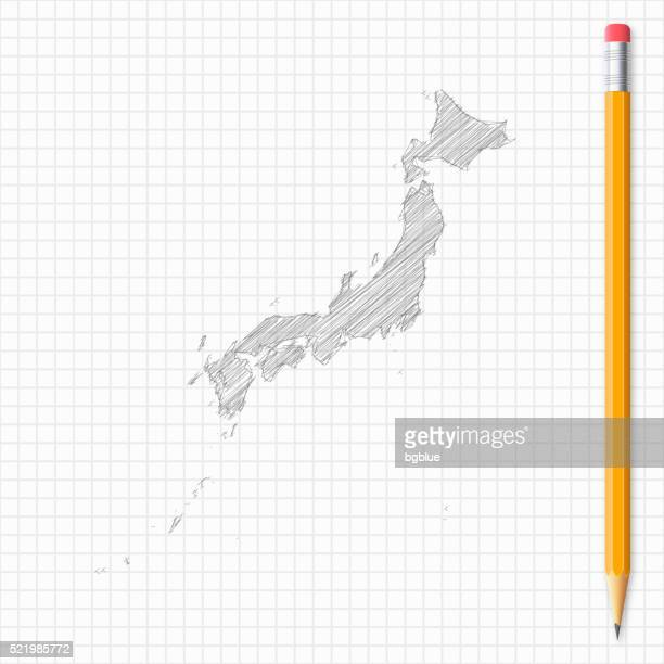 japan map sketch with pencil on grid paper - sea of japan or east sea stock illustrations, clip art, cartoons, & icons