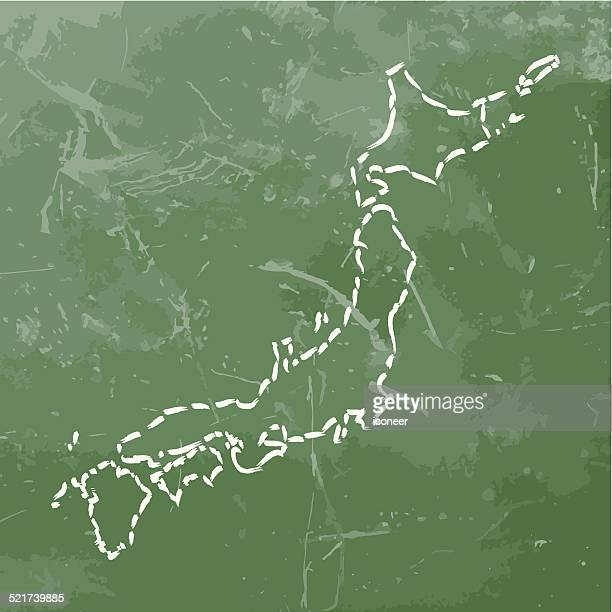 Japan-Karte vorgelegt, über rostige Metall Hintergrund