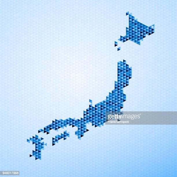 日本地図の三角形パターン青
