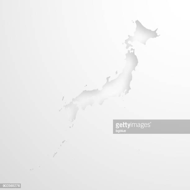 空白の背景にエンボス効果を持つ日本地図