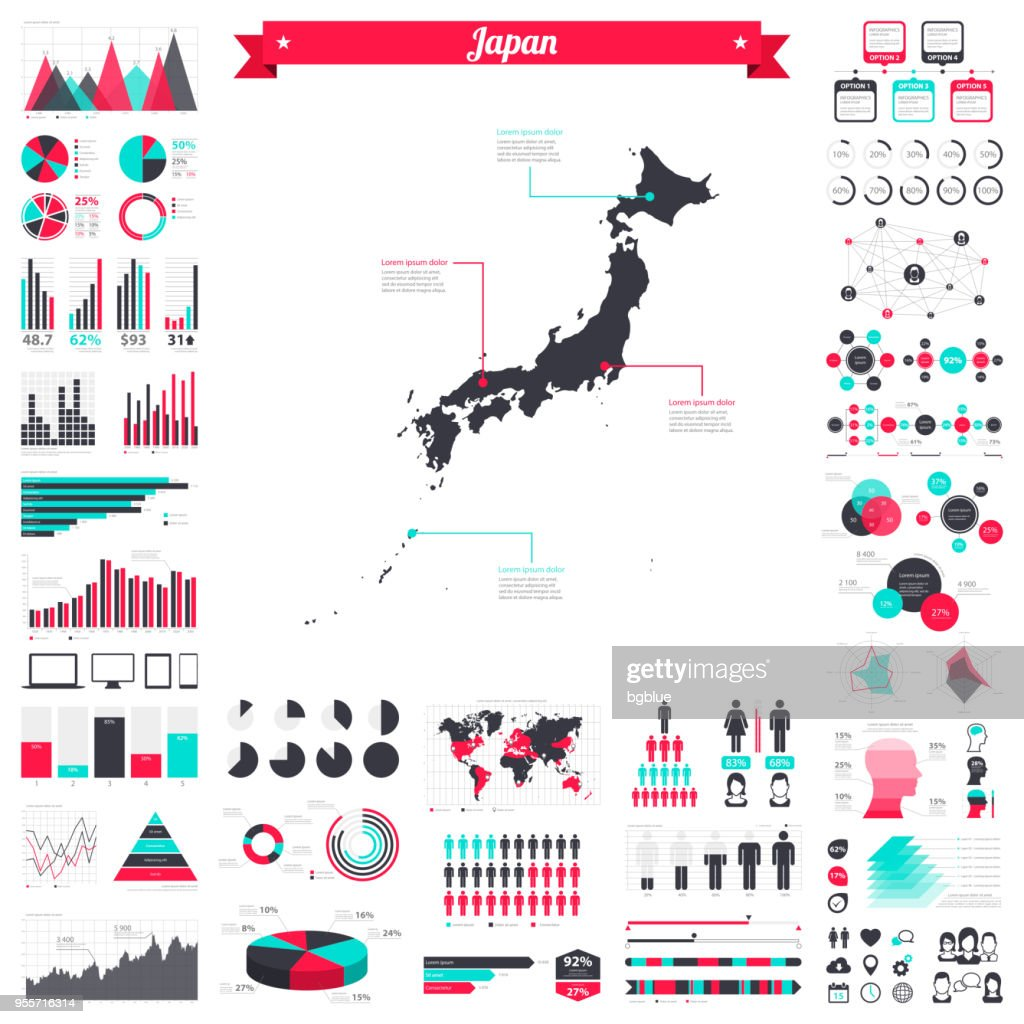 Japan map with infographic elements - Big creative graphic set : stock illustration