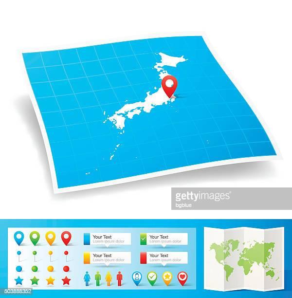 日本のロケーションマップピン、白背景