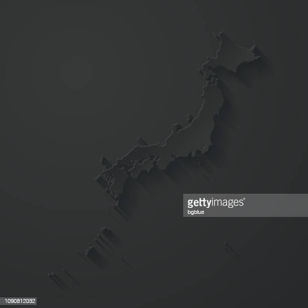 ilustraciones, imágenes clip art, dibujos animados e iconos de stock de mapa de japón con el papel cortado efecto sobre fondo negro - sea of japan or east sea