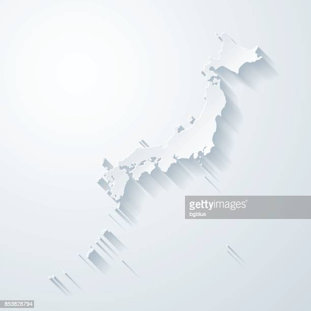 Japan map with paper cut effect on blank background