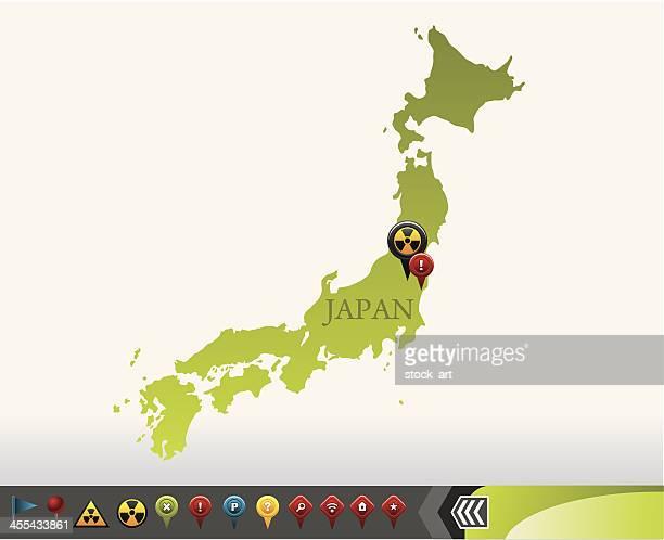 Japan-Karte mit Strahlung Symbole