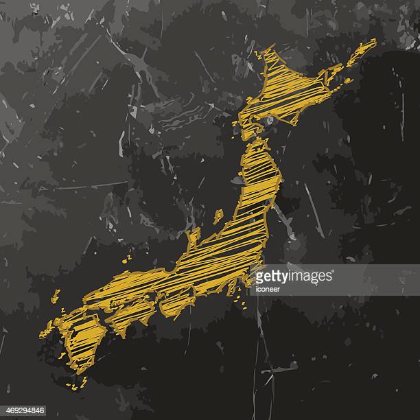 japan map yellow sketched on dark chalkboard background - hokkaido stock illustrations, clip art, cartoons, & icons