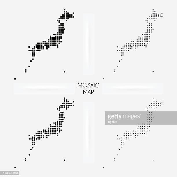 ilustraciones, imágenes clip art, dibujos animados e iconos de stock de japón mapas-mosaico squarred y salpicado - sea of japan or east sea