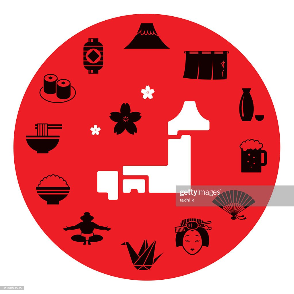 Japan motif icon set : stock illustration