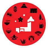 Japan motif icon set