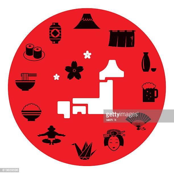 ilustrações, clipart, desenhos animados e ícones de japan motif icon set - mt. fuji