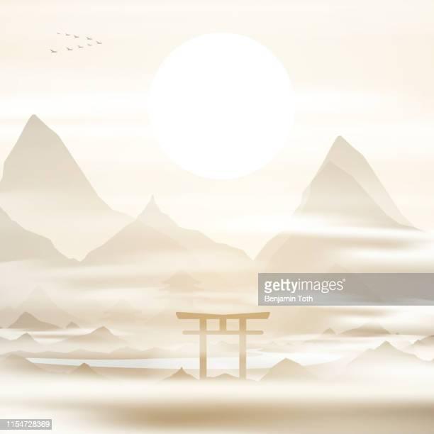 ilustrações, clipart, desenhos animados e ícones de japão, montanhas na porta da névoa torii, templo no fundo - mt. fuji