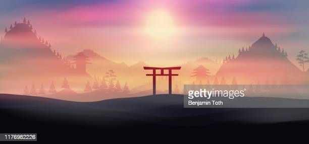 japan, mountains in fog torii gate, temple in the background - mt. fuji stock illustrations, clip art, cartoons, & icons