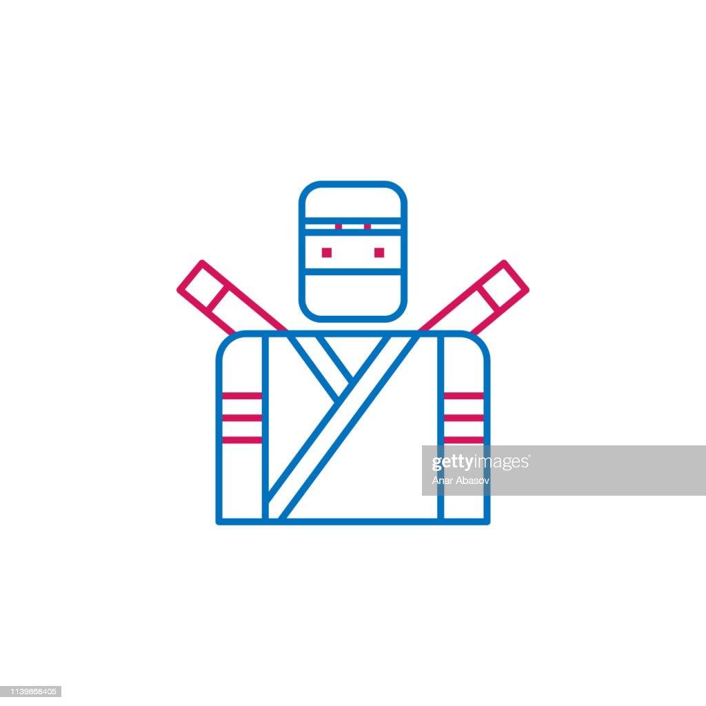 Japan, ninja icon. Element of Japan culture. Thin line 2 color icon for website design and development, app development. Premium icon
