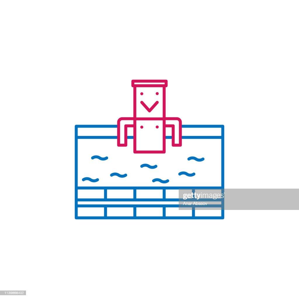 Japan, onsen icon. Element of Japan culture. Thin line 2 color icon for website design and development, app development. Premium icon