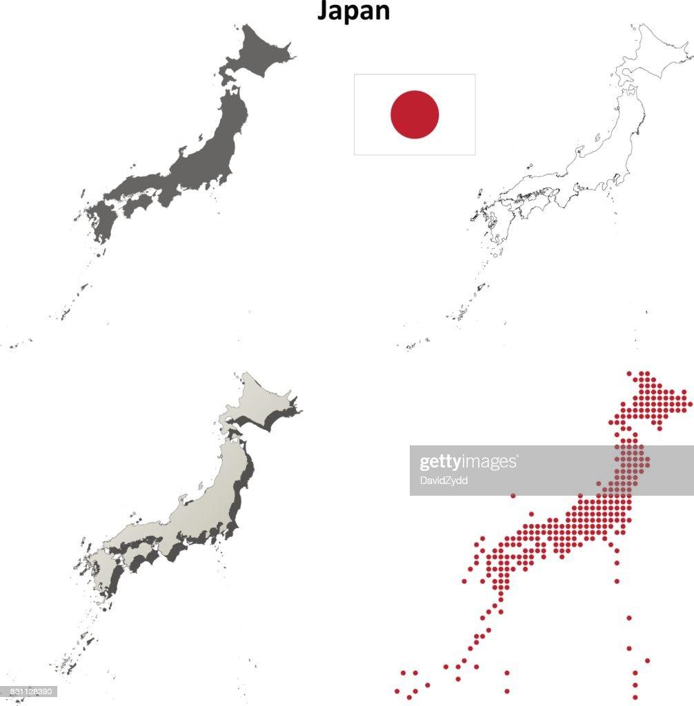 Japan Outline Map Set Vector Art Getty Images - Japan map outline