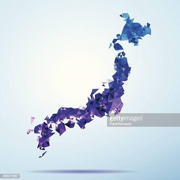 日本のポリゴントライアングルマップブルー