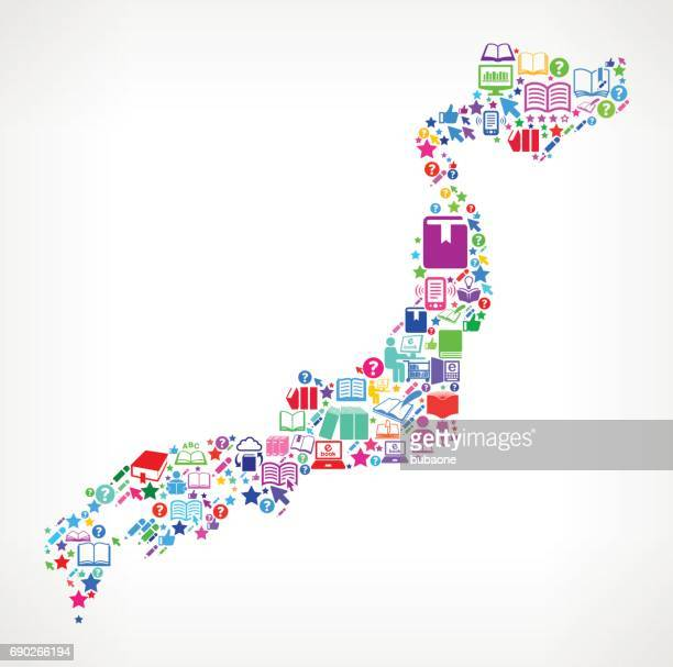 Japan Reading Books and Education Vector Icons Background