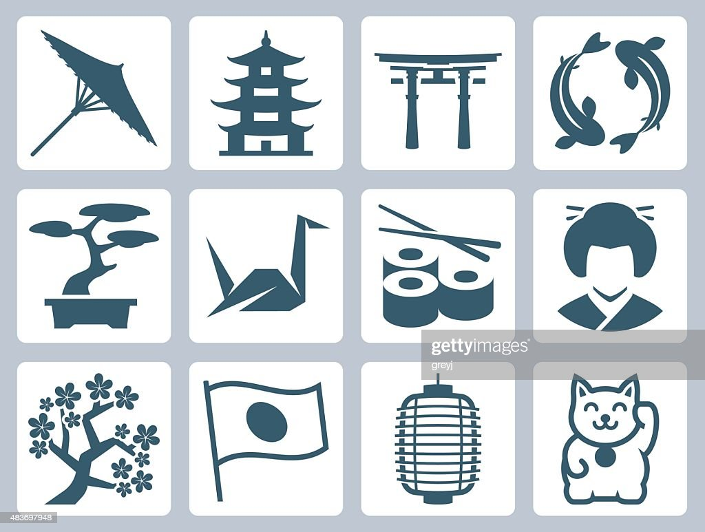 Japan related vector icon set
