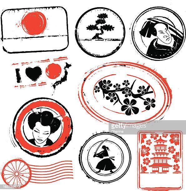 illustrations, cliparts, dessins animés et icônes de japon tampons en caoutchouc - cerisier japonais