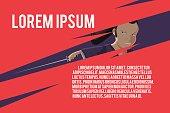 Japan Samurai Template Red Background Vector