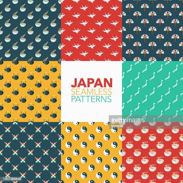 japan seamless pattern set - japanese language stock illustrations, clip art, cartoons, & icons