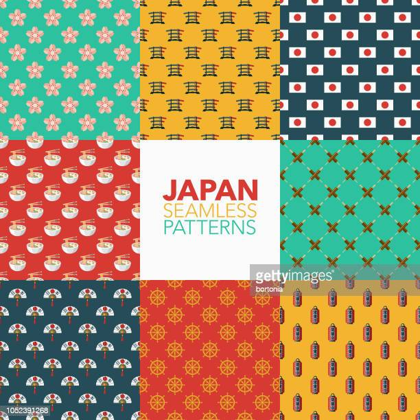 japan seamless pattern set - flowering trees stock illustrations, clip art, cartoons, & icons