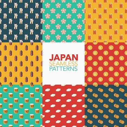 Japan Seamless Pattern Set - gettyimageskorea
