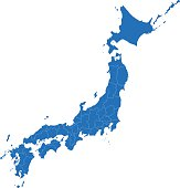 Japan simple blue map on white background