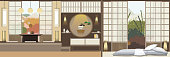 Japan style living room with furniture