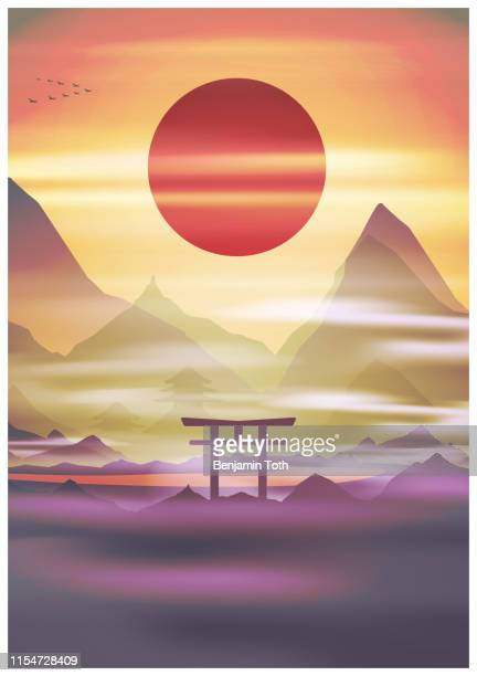 japan, sunrise mountains in fog torii gate, temple in the background - mt. fuji stock illustrations, clip art, cartoons, & icons
