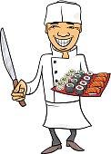 japan sushi chef cartoon illustration