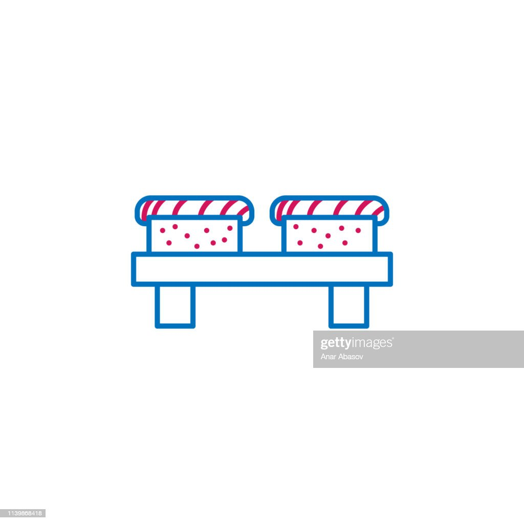 Japan, sushi icon. Element of Japan culture. Thin line 2 color icon for website design and development, app development. Premium icon