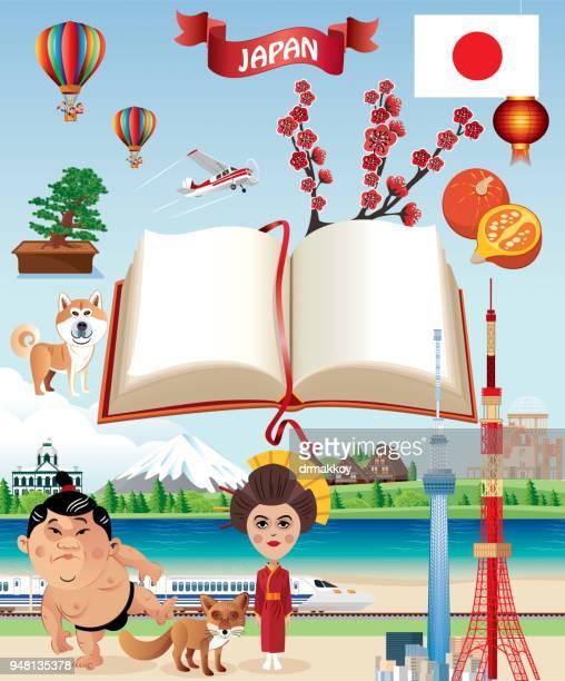 japan symbols and book - nagasaki city stock illustrations, clip art, cartoons, & icons