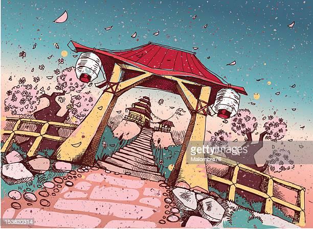 ilustraciones, imágenes clip art, dibujos animados e iconos de stock de templo de japón - cherry tree