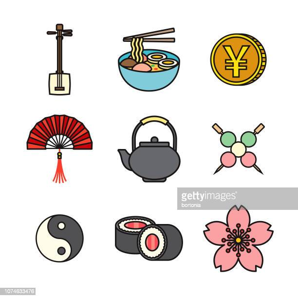Japan Thin Line Icon Set