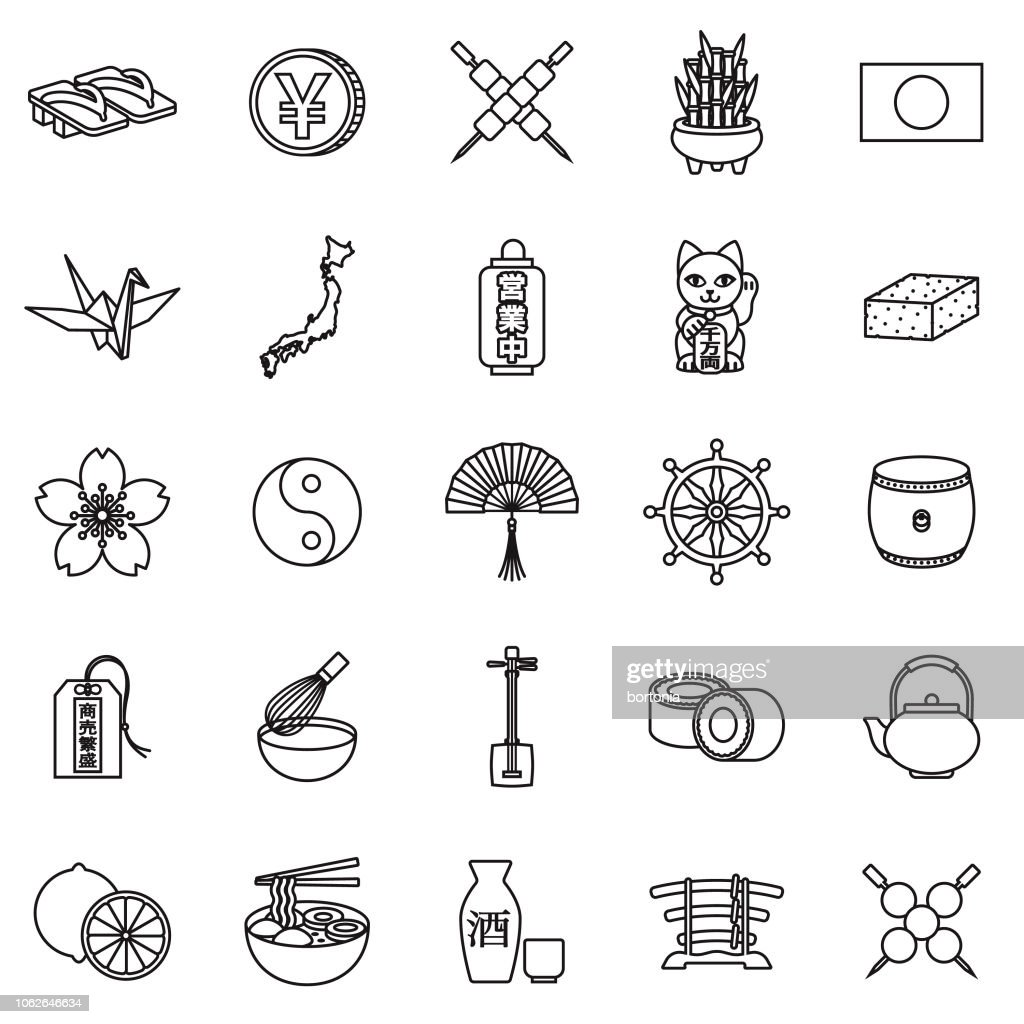 Japan Thin Line Outline Icon Set