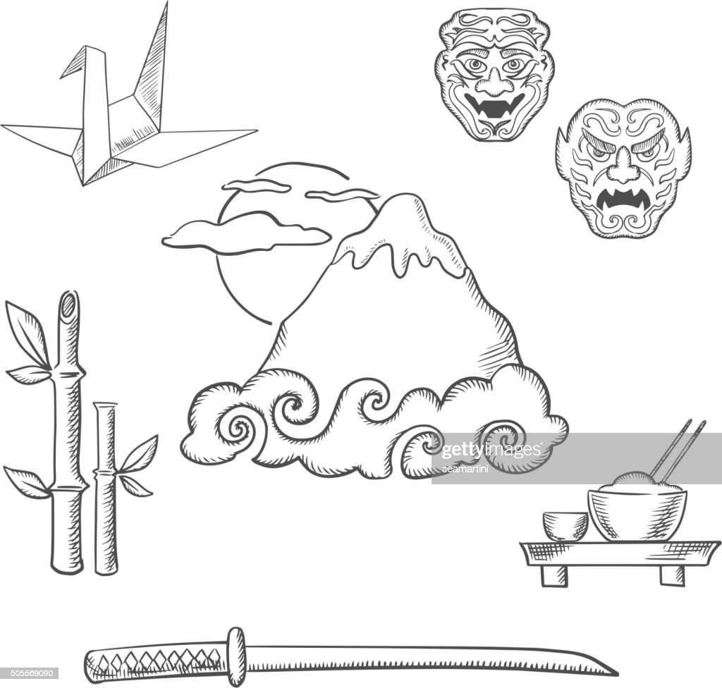 Japan travel elements in sketch style