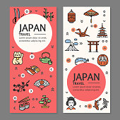 Japan Travel Flyers Placrad Banners Set. Vector