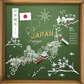 Japan travel map on chalkboard