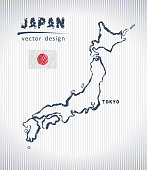 Japan vector chalk drawing map isolated on a white background