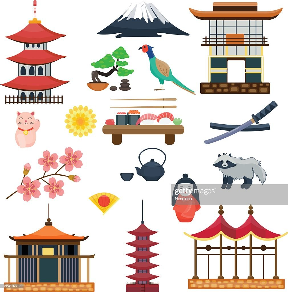 Japan vector collection. Japanese traditional symbols culture