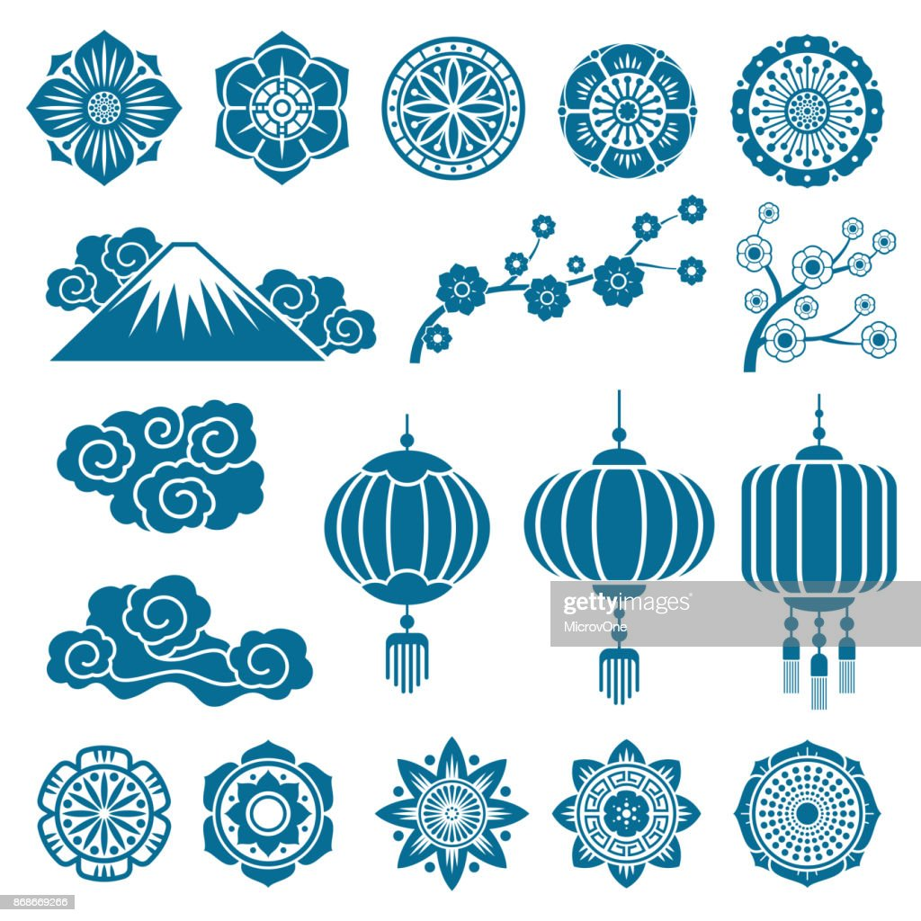 Japanese and chinese asian motif vector decor pattern elements