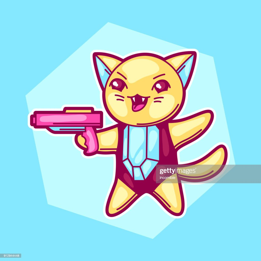 Japanese anime cosplay cat. Cute kawaii character with gun : Vector Art