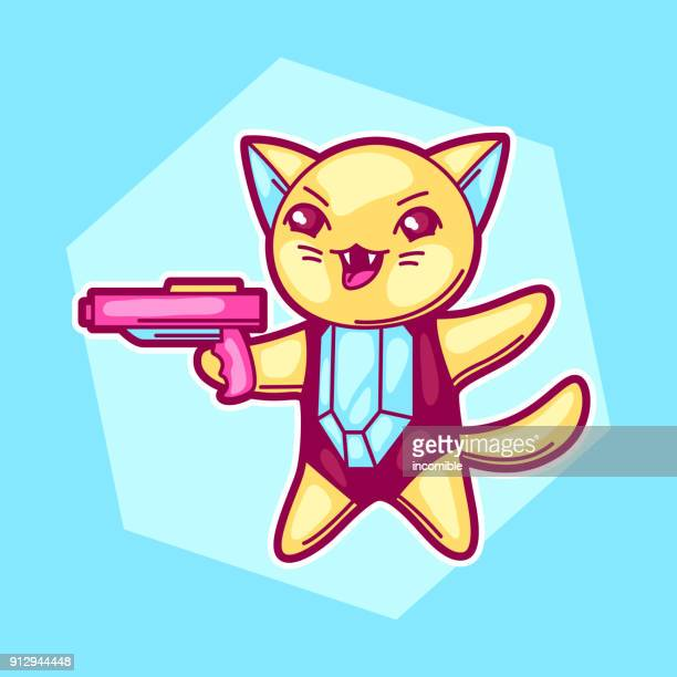 Japanese anime cosplay cat. Cute kawaii character with gun