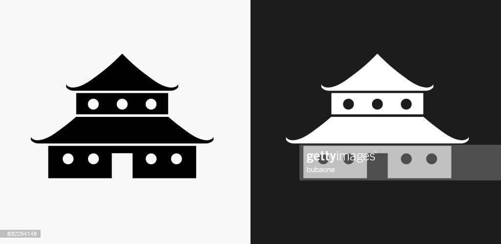 Japanese Architecture Icon On Black And White Vector Backgrounds Art