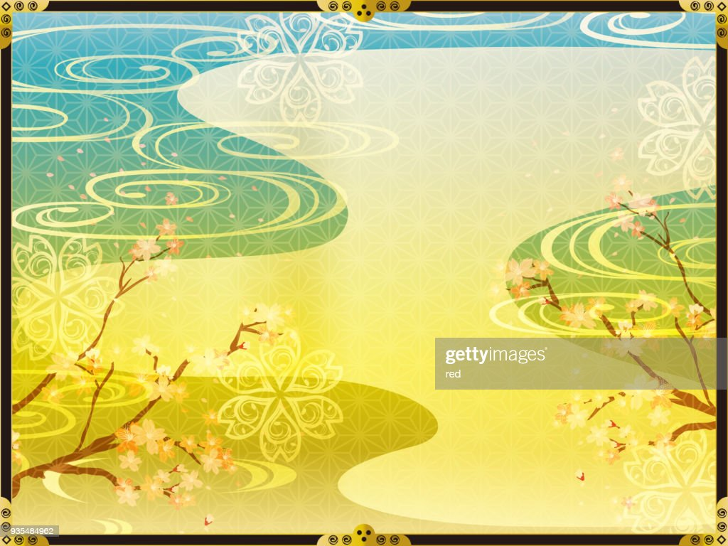 Japanese background pattern of cherry blossoms and gold
