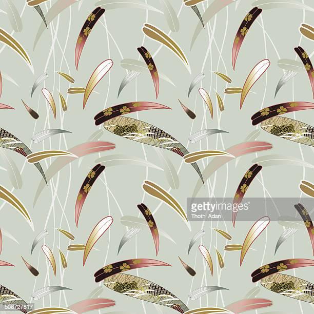 japanese bamboo (seamless pattern kimono style) - kimono stock illustrations