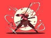 Japanese battle samurai with katana