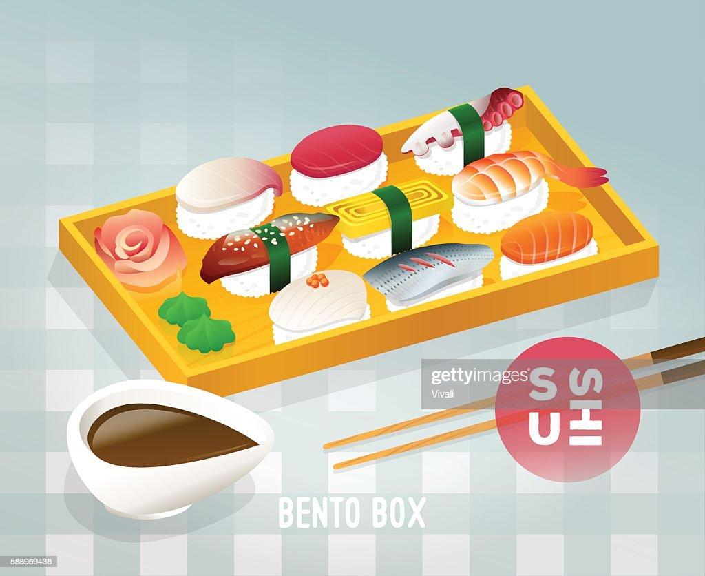Japanese bento food vintage poster design. Vector illustration of a